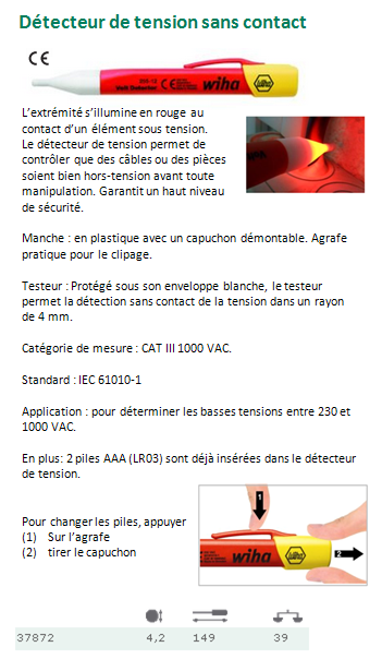 DETECTEUR DE TENSION SANS CONTACT 37872