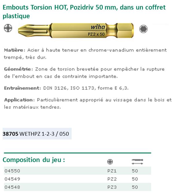 COFFRET DE 3 EMBOUTS TORSION HOT PZ-PZ2-PZ3 LG.50 38705