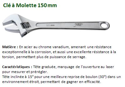 CLE A MOLETTE 150 MM CHROME VANADIUM 040106