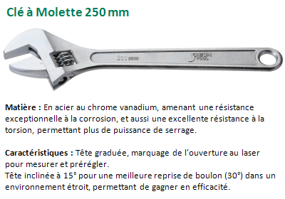 CLE A MOLETTE 250 MM CHROME VANADIUM 040110 / 003894