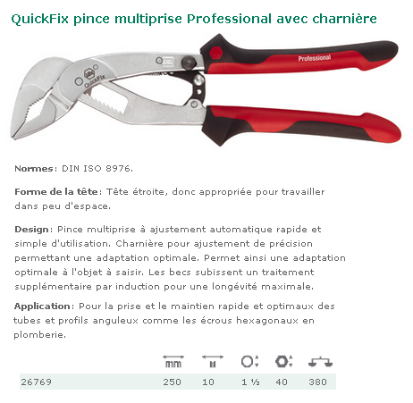 PINCE MULTIPRISE QUICKFIX CLASSIC EMBOITEE 250 MM 39091