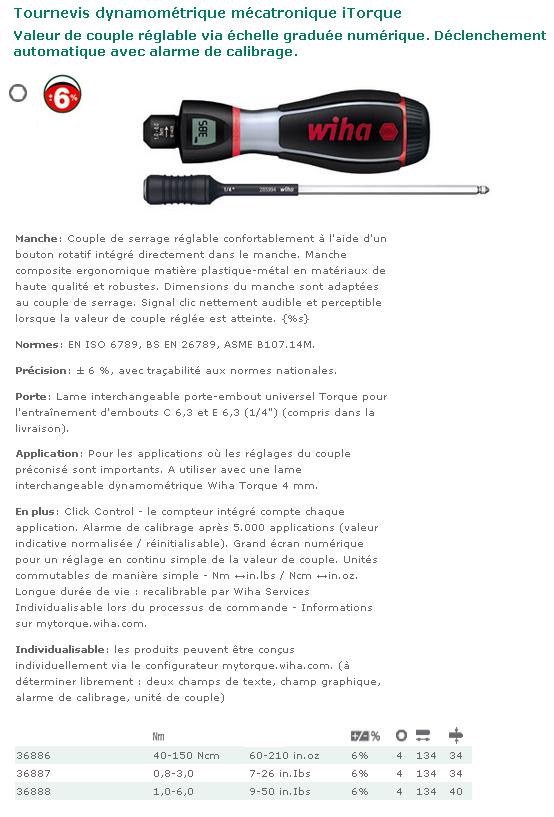 TOURNEVIS DYNAMOMETRIQUE MECATRONIQUE WIHA ITORQUE 1.0-6.0 Nm  36888