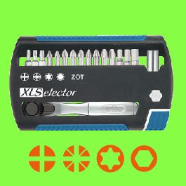 XLSelector de 25, 17 pièces Mélangées Embouts Torsion ZOT avec Cliquet d'Embout